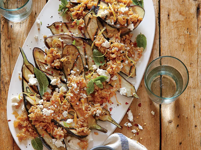 and the feta adds a salty finish to this hearty side dish Grilled Eggplant with Freekeh Pilaf Recipe