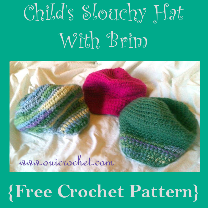 Crochet, Crochet Hat Pattern, Free Crochet Pattern, Child's Slouchy Hat with Brim,