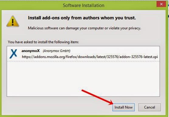 Buka Situs diblokir dengan add-on anonymoX Firefox