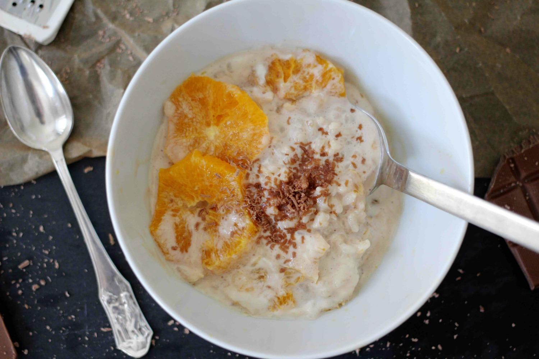 Schokomilchreis mit karamellisierten Orangen