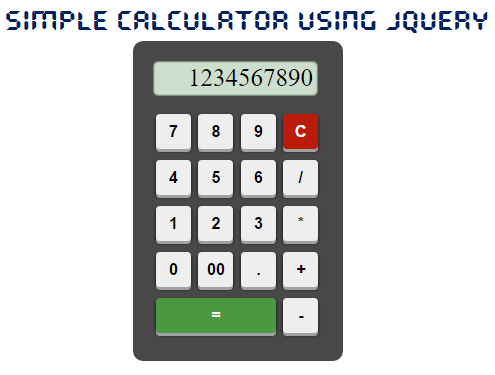 Simple Calculator using JQuery and HTML