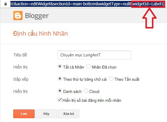 Xem thông tin ID của Widget trên Bloggger