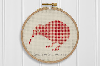 cute modern gingham kiwi cross stitch by homestitchness