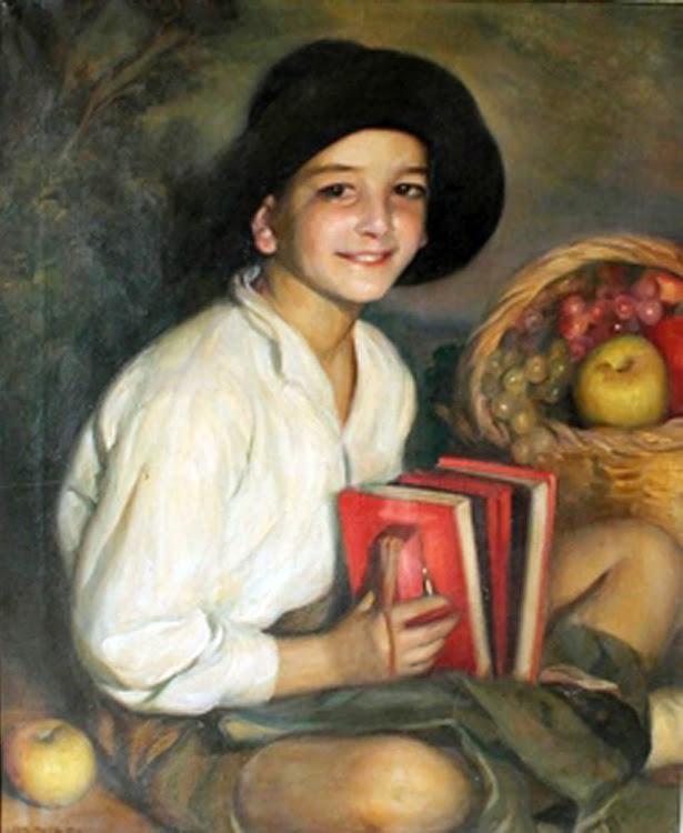 Retrato de niño con acordeón, Victor Moya Calvo, Pintor español, Pintores Valencianos, Retratos de Victor Moya Calvo, Pintores españoles, Pintor Victor Moya, Pintores Valencianos