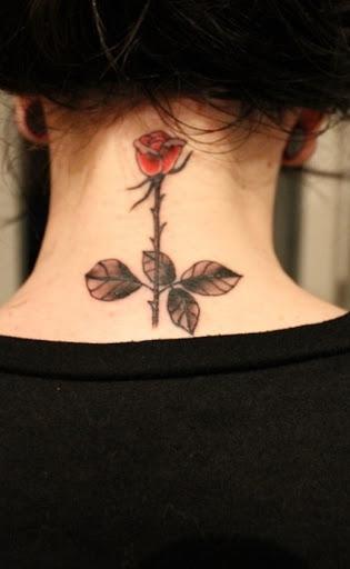 Uma linda rosa vermelha tatuagem no pescoço para meninas