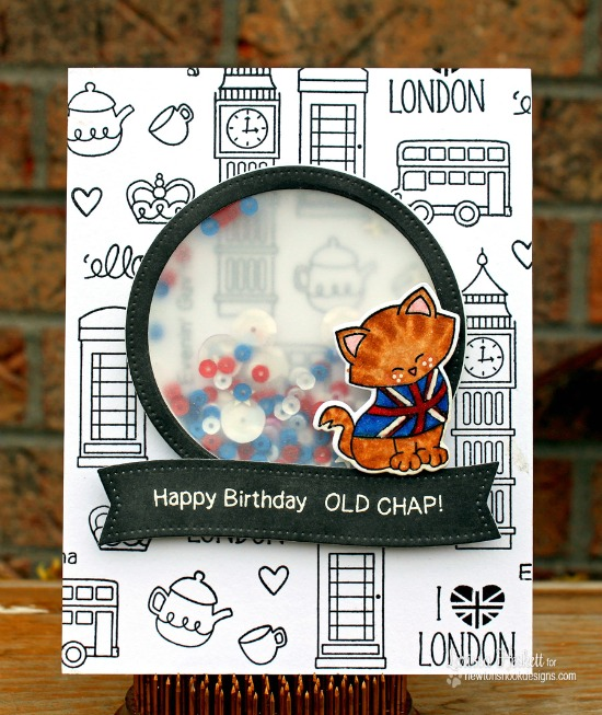 London Birthday Shaker Card by Larissa Heskett | Newton Dreams of London 4 x 6 Cat Stamp set by Newton's Nook Designs #newtonsnook #london