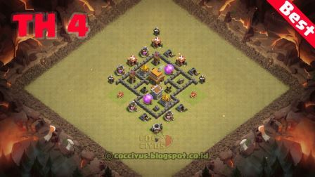 Pertahanan Clash of Clans Town Hall 4 War Base Layout