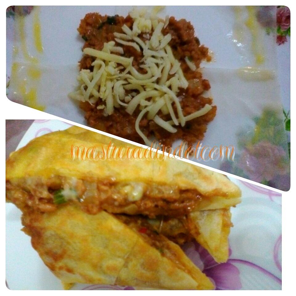 resepi murtabak cheese, resepi menggunakan kulit popia, menu minum petang, cara mudah buat murtabak cheese