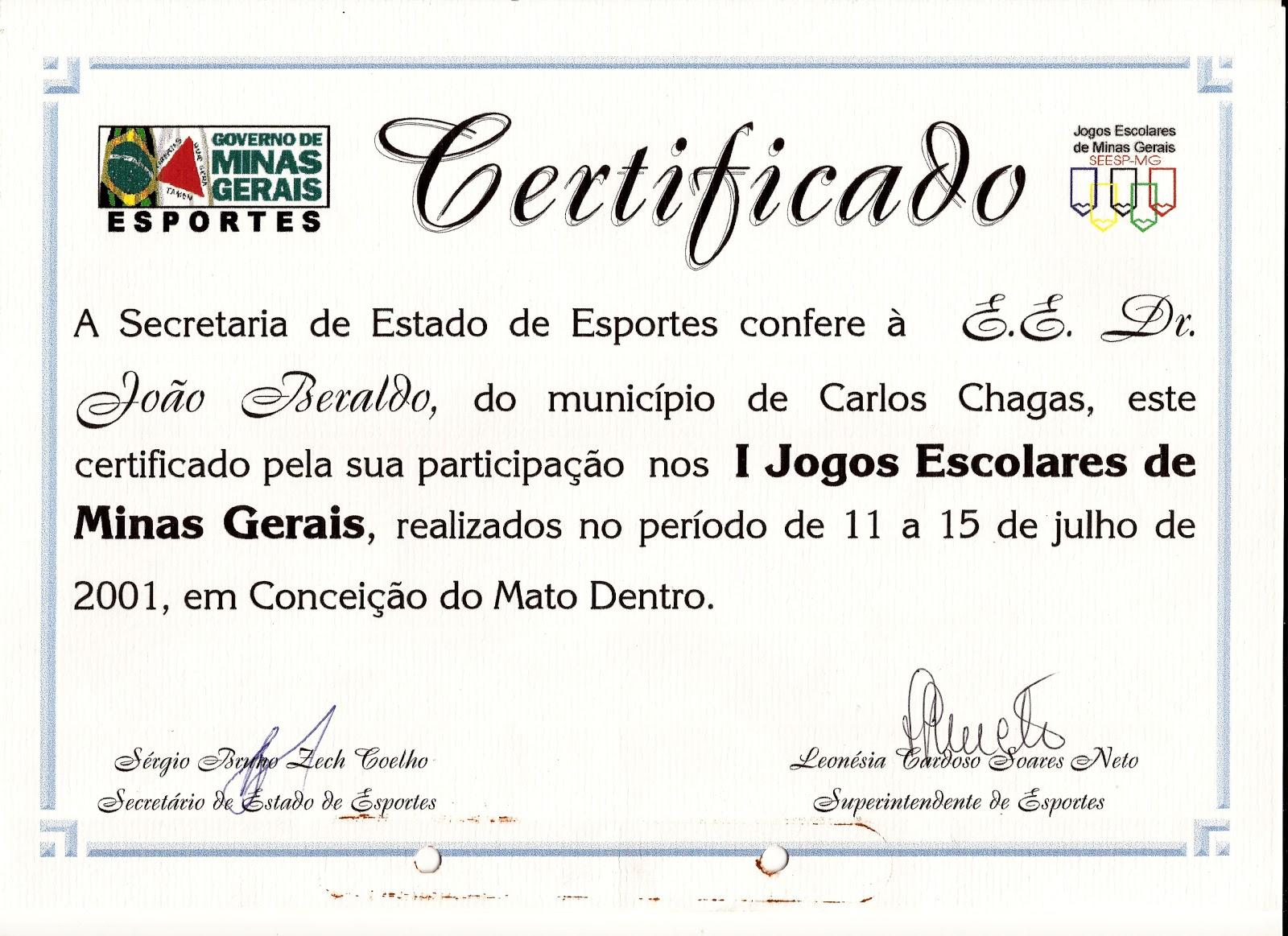 Informativo Girassol Certificado De Participação No Iºjogos