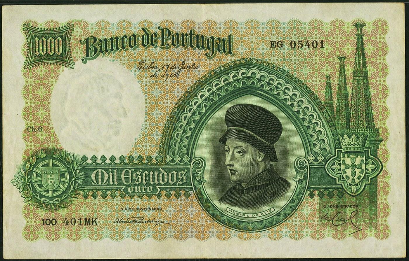 Portugal banknotes 1000 Escudos bank note 1938 King John D. João I