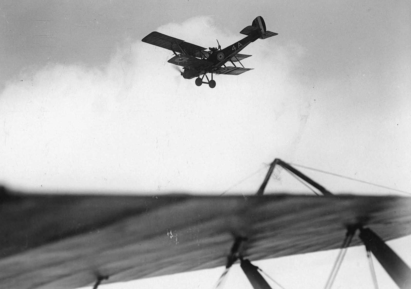 British reconnaissance plane flying over enemy lines, in France.