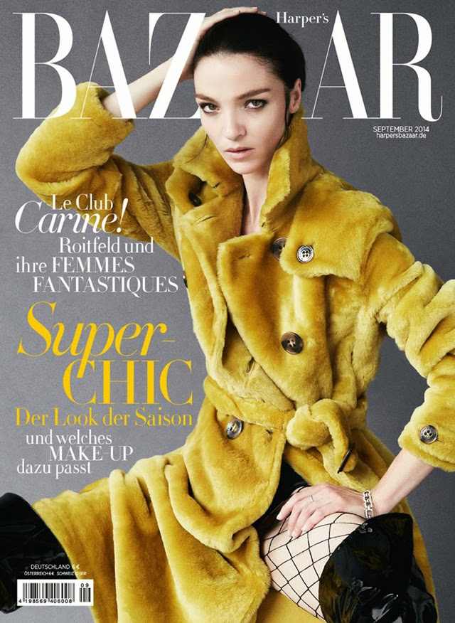 Mariacarla Boscono covers Harper's Bazaar Germany September 2014
