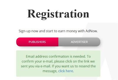 Bila Registrasi berhasil, Sobat akan mendapatkan Info seperti ini. Sobat tinggal menunggu pesan masuk ke email Sobat dari Adnow untuk konfirmasi.