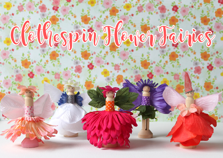 Make this cute fairy craft with silk flowers and wooden doll clothespins.
