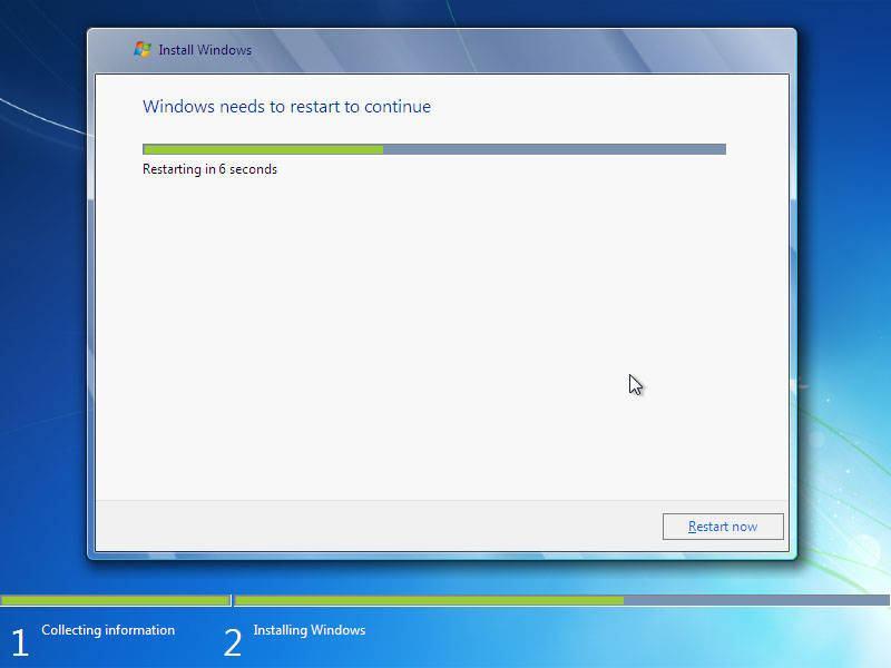 langkah 16: cara instal windows 7, restart otomatis