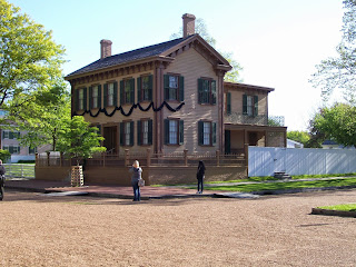 Lincoln House in Springfield, April 2015; black bunting for 150th anniversary of Abraham Lincoln's funeral.