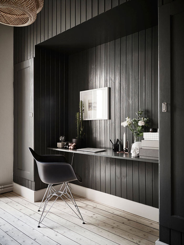 workspace, home office, eames chair, black painted walls