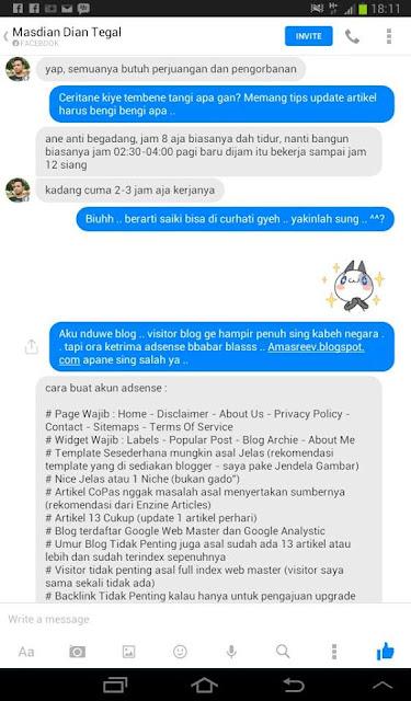 Chat FB Reevnson dengan Mas Dian
