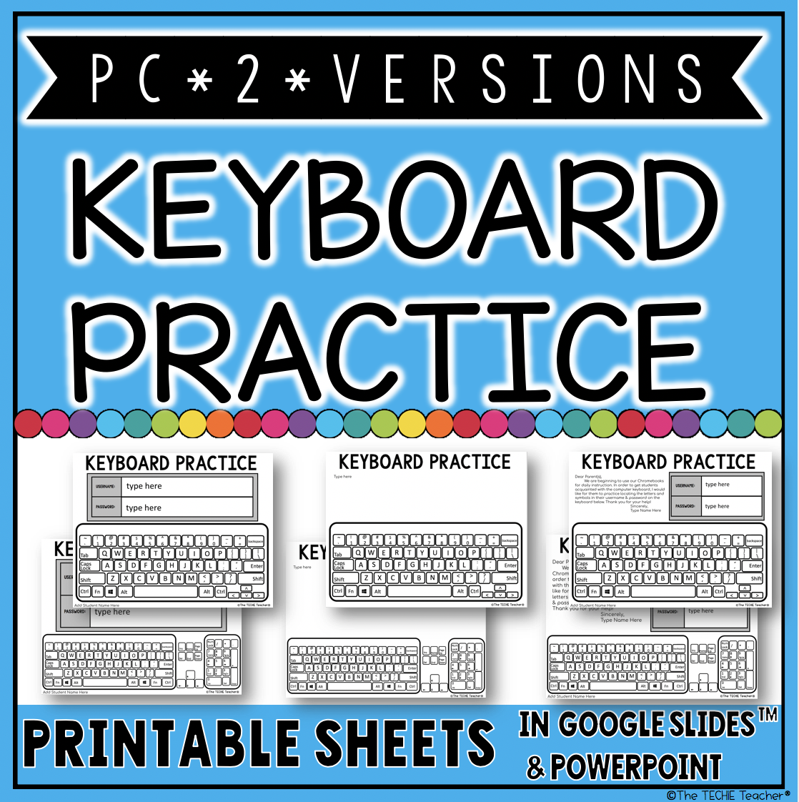 PC Keyboard Practice Sheets for logging in