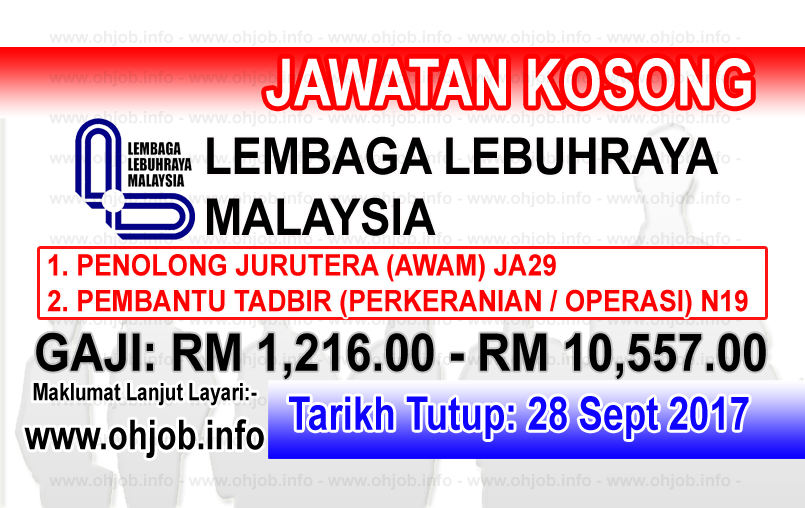 Jawatan Kerja Kosong LLM - Lembaga Lebuhraya Malaysia logo www.ohjob.info september 2017