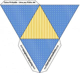 Caja con forma de pirámide de Corona Dorada en Azul y Amarillo