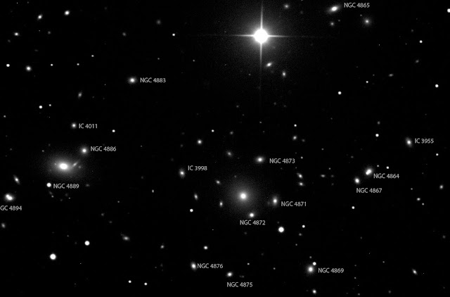 Image of Galaxies in the Coma Cluster - Click on Image to Enlarge