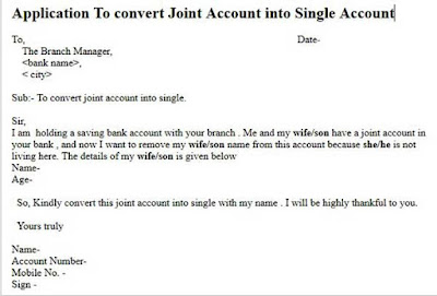 joint account to single account application