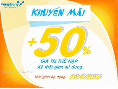 Vinaphone tặng 50% giá trị thẻ nạp ngày vàng 29/9/2016
