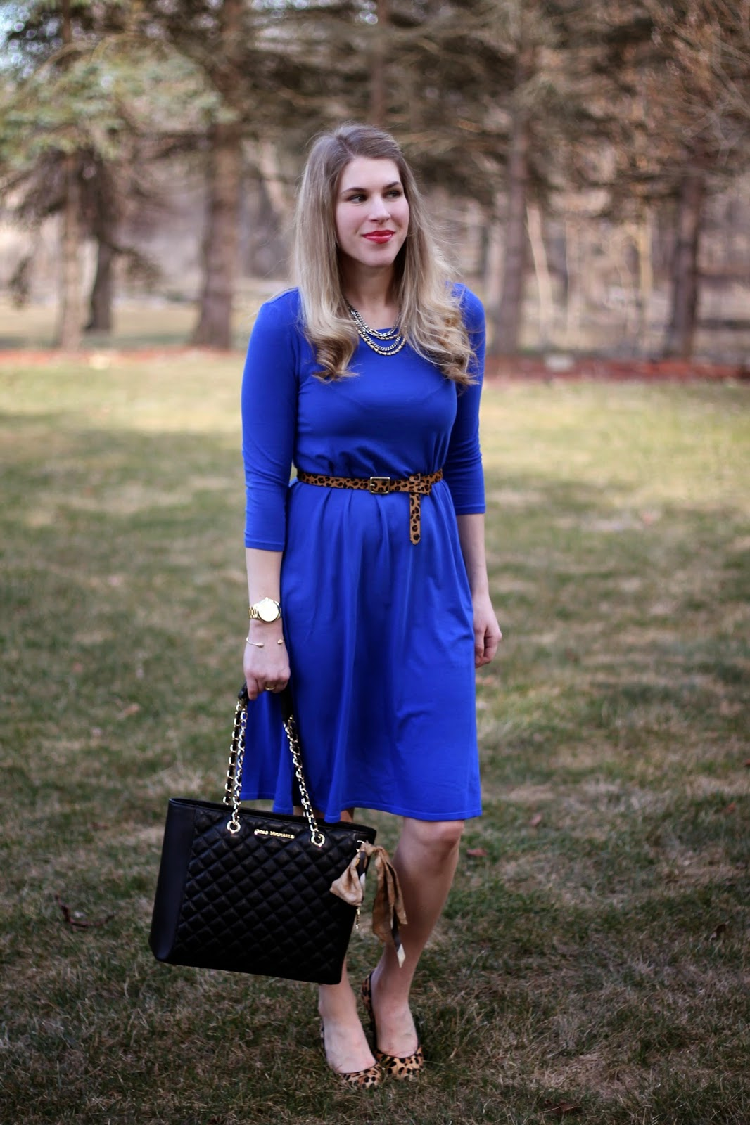 kika cobalt blue dress leopard heels and belt