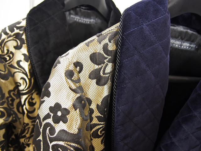Men's robes paisley silk and velvet dressing gowns with quilted shawl collar