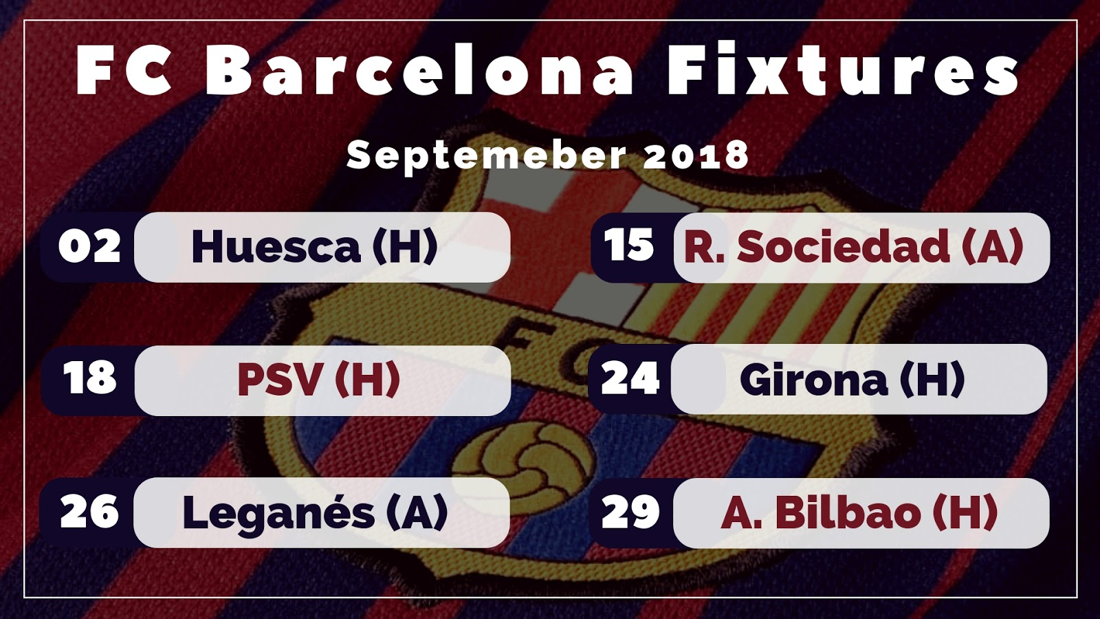 FC Barcelona's Fixture List for September 2018