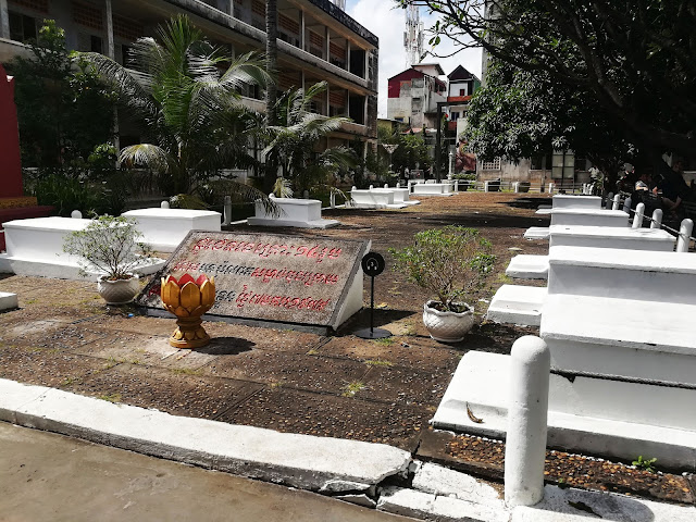 These are the graves of the last 14 victims of the prison. It is said that these people were killed just before the Khmer Rouge soldiers abandoned the prison as soon as they heard of the arrival of the Vietnamese. The bodies were found in badly mutilated conditions.