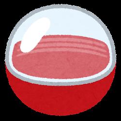 おもちゃのカプセルのイラスト(空・赤)