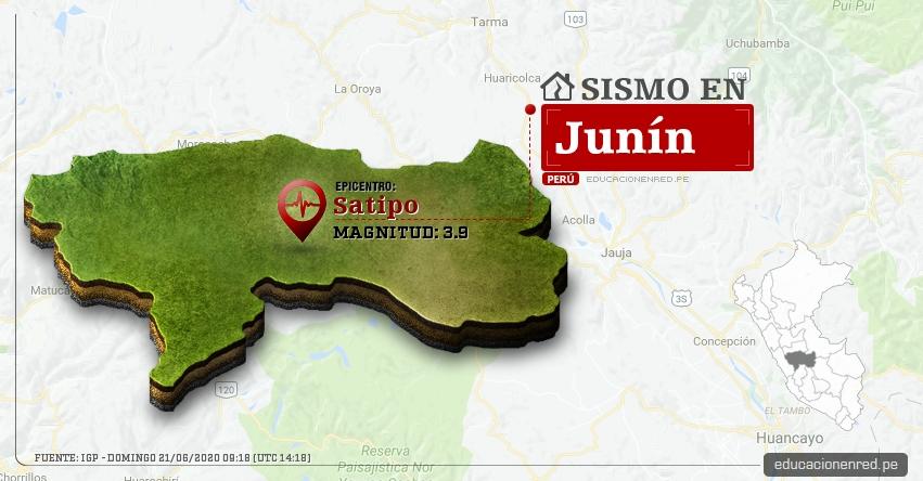 Temblor en Junín de Magnitud 3.9 (Hoy Domingo 21 Junio 2020) Sismo - Epicentro - Satipo - Satipo - IGP - www.igp.gob.pe