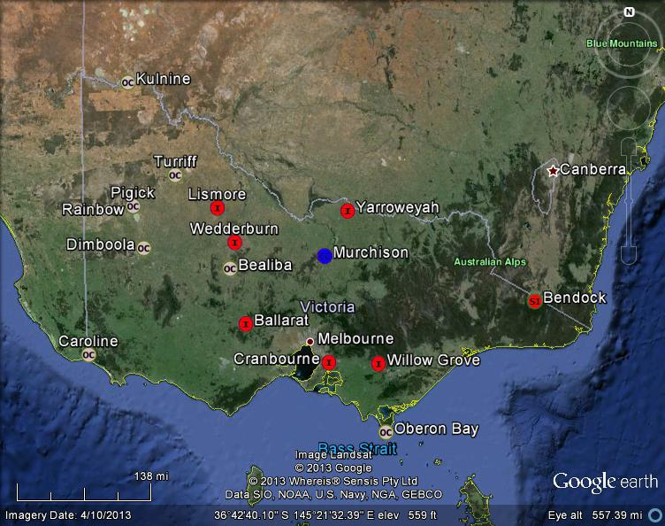 Meteorite Maps and Impact Craters   Worldwide  Victoria  Australia     Victoria  Australia Meteorites Map