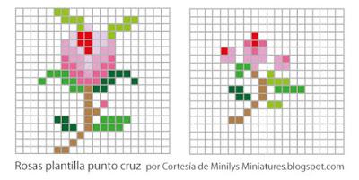 """""""minilys miniatures"""" pattern, punto de cruz, flores, 1:12"""