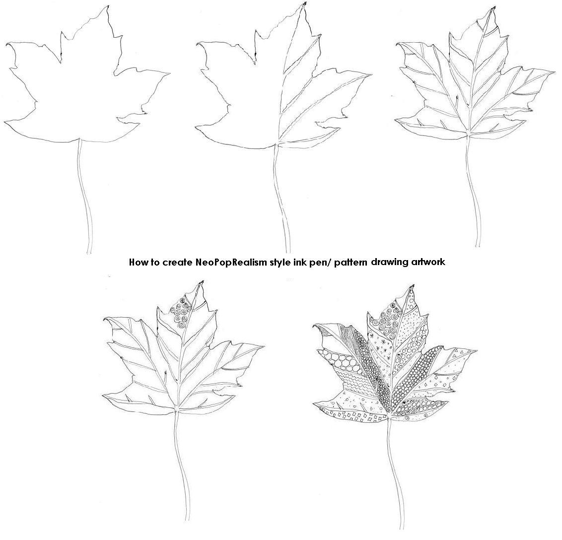 Leaves Neopoprealism Ink And Pen Pattern Drawing Grades