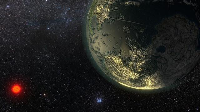 Ilustração de planeta que orbita a estrela GJ 411, a 8,3 anos-luz - Ricardo Ramirez