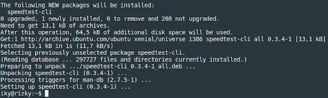 pada sistem operasi linux untuk melaksanakan pengujian kecepatan internet sebagaimana yang bi speedtest-cli  Menguji Kecepatan Internet Melalui Terminal Linux