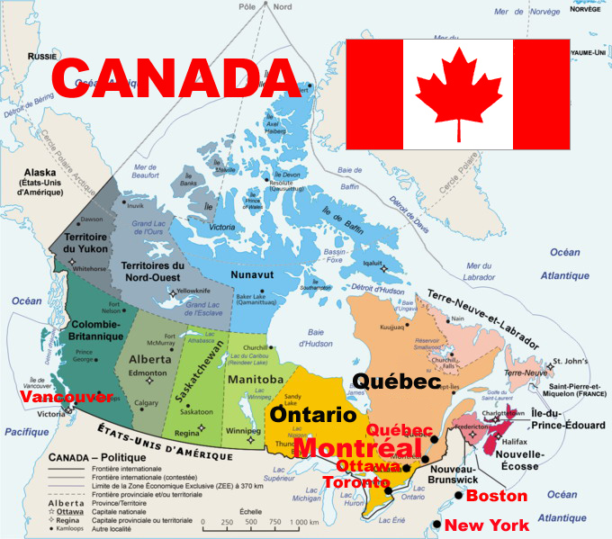 Carte Administrative Canada.Cestfranc Decouvrir Le Canada En Classe De Fle
