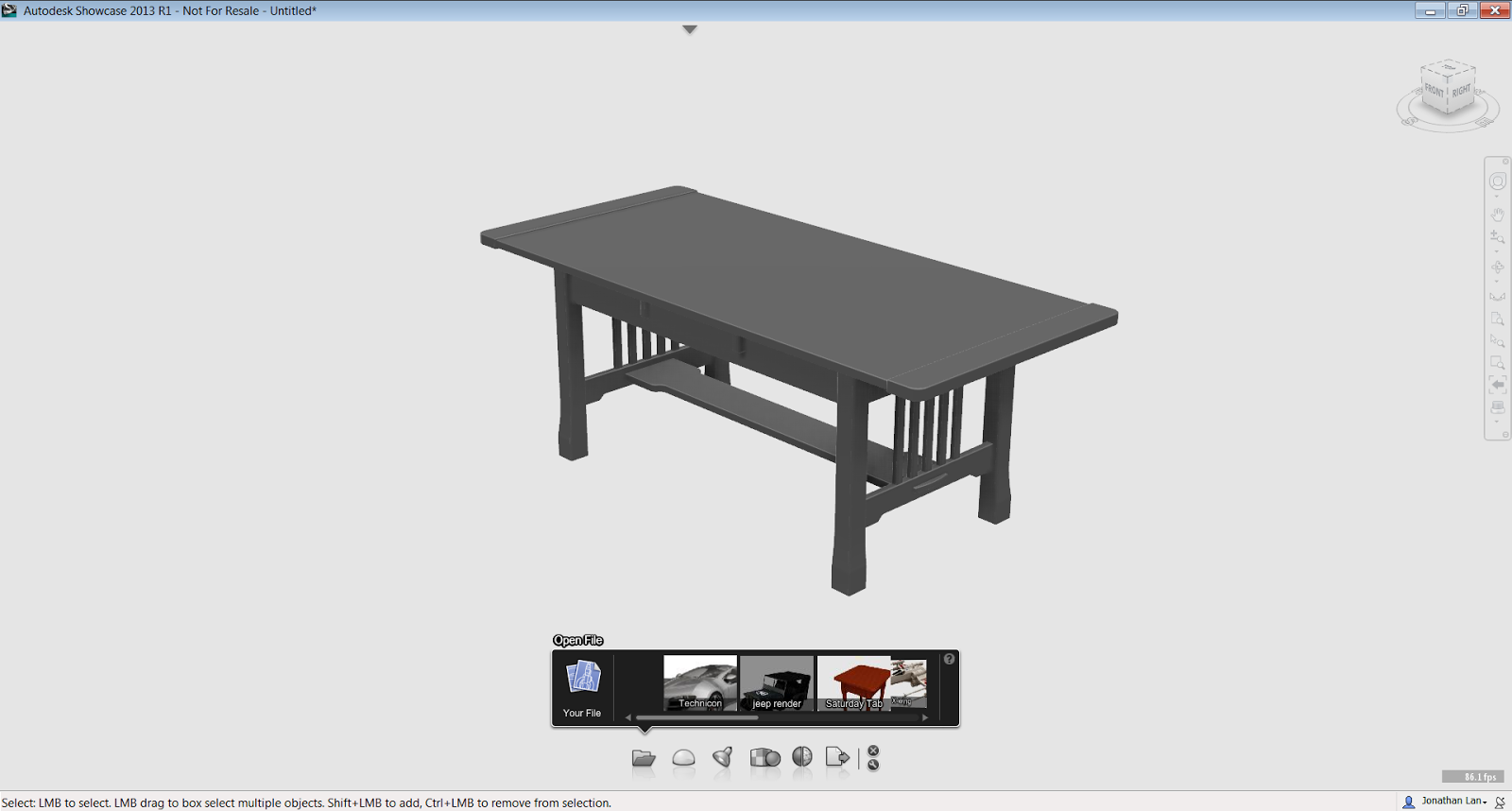 The model is imported and ready with the drawer closed