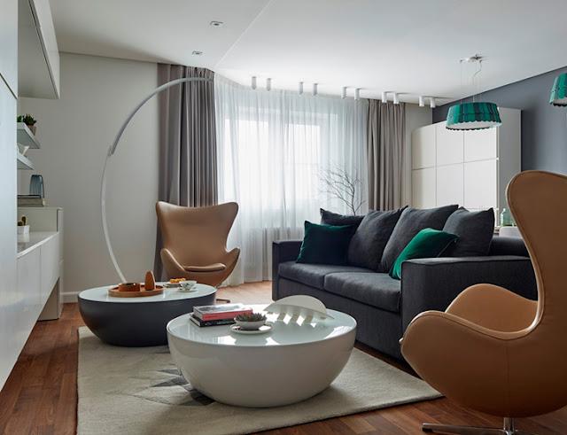 Amenajare contemporană în gri și verde pentru un apartament de 160 din Moscova m²