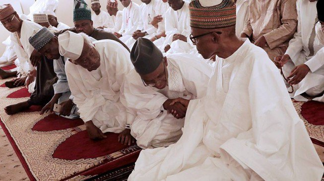 El-Rufai with Buhari at the mosque on good friday