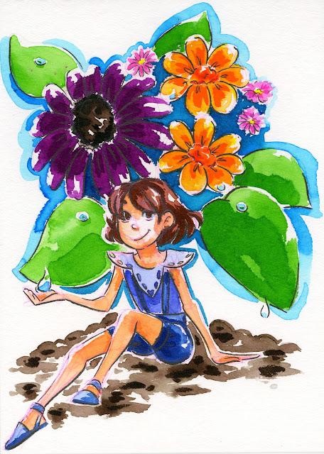 Pentel Brushpens on watercolor paper