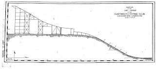 A drawn ski jump in profile.