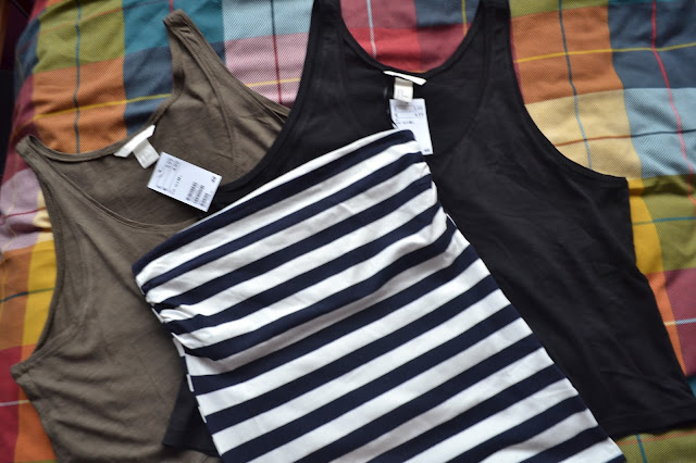 H&M jersey vest tops in khaki and black and a navy and white bandeau top