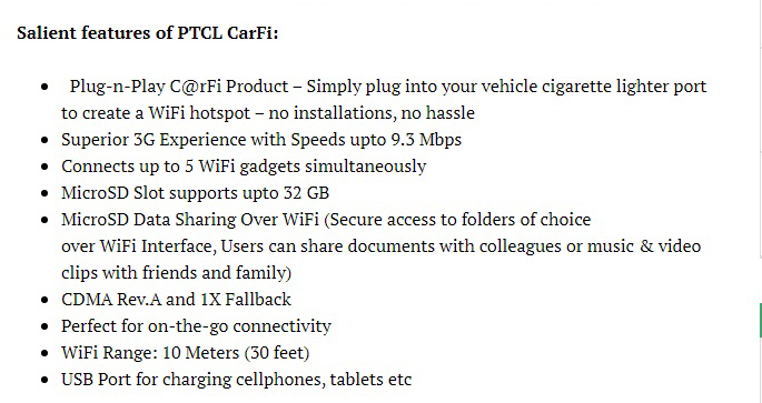 Car-Fi Features