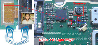 This is Nokia 110 Display Light Solution you Can Solve Your Nokia Mobile Phone Display Light problem follow this Page. At First Clean your Device mother board use anise tuner check your phone if your device problem is not solve check this red mark component if any component is dead replace it. check this line if any line is broken connect this line use copier coil. i hope you are solve your device problem.  thanks you.