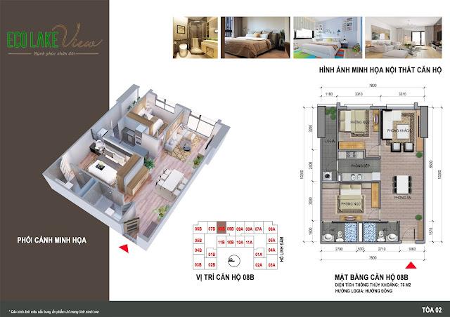 Thiết kế căn hộ 08B tòa HH2 chung cư ECO LAKE VIEW