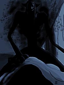 monstruo oscuro acechando a hombre mientras duerme